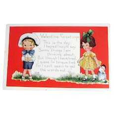 Whitney Valentine Postcard - Girl With Doll Card - Collectible Valentine