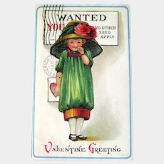 Valentine Postcard - Lampshade Style Hat - Wanted Valentine Greeting