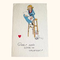 Unused Winch Valentine Postcard / Humorous Postcard / Vintage Card