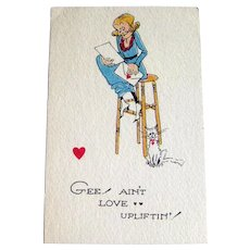 Unused Winch Valentine Postcard / Humorous Postcard / Vintage Card