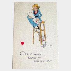Winch Valentine Postcard / Humorous Postcard / Vintage Card