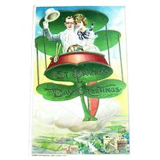 RARE St. Patrick's Day Postcard / Winsch Postcard / Hot Air Balloon / Romantic Card