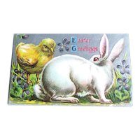 Easter Postcard Rabbit and Chick