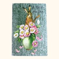 Winsch Easter Postcard / Metallic Card / Rabbit in Egg