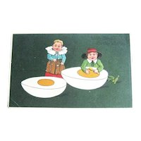 Easter Postcard / Children Eating Egg / PFB Postcard