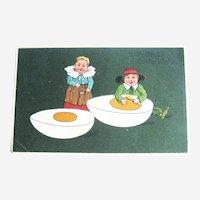 Easter Postcard / Children Eating Egg / PFB Postcard