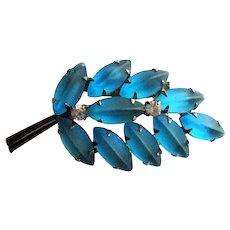 Aquamarine Rhinestone Pin / Molded Glass / Satin Glass