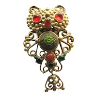 Colorful Owl Pin Pendant / Collectible Owl