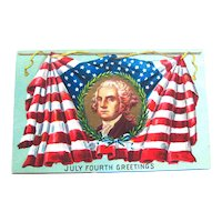 July Fourth Greetings Postcard / George Washington / American Flag / Patriotic Postcard