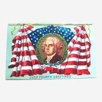 July Fourth Greetings Postcard / George Washington / American Flag / Patriotic Postcard