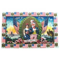 Uncle Sam 4th of July Postcard / Lady Liberty / Fire Crackers