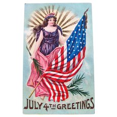 Lady Liberty July 4th Greetings Postcard / American Flag