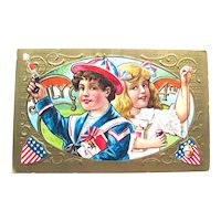 July 4th Postcard / Patriotic Postcard / Children / Firecrackers