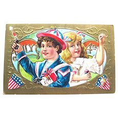 July 4th Postcard / Patriotic Postcard / Children / Firecrackers