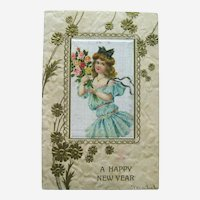 Happy New Year Postcard / Silk Card / Girl with Bouquet