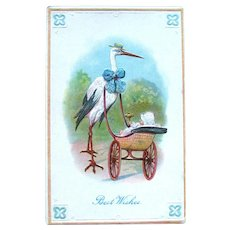 Stork Pushing Baby in Carriage Postcard / Vintage Stork Card