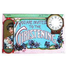 Very Unique Invitation to Christening Postcard / Mother and Baby