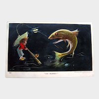 Little Guy Catching Big Fish Postcard