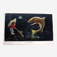 Little Guy Catching Big Fish Postcard