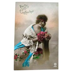 Tinted Real Photo Postcard of Lovely Lady / Vive Ste Catherine / French Postcard
