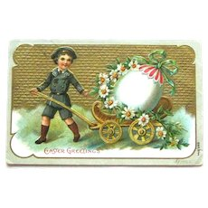 Easter Postcard Boy Pulling Egg in Wagon