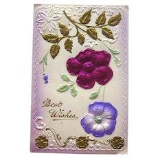 Best Wishes Postcard / Silk Flower