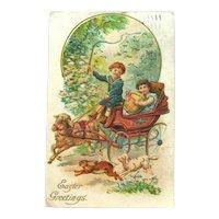 Easter Greetings Postcard / Lamb Pulling Carriage / Vintage Easter