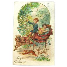 Easter Greetings Postcard / Lamb Pulling Carriage / Vintage Easter