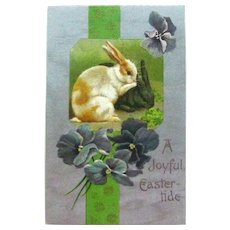 A Joyful Easter-tide Postcard / Two Rabbits / Violets / Winsch Easter Postcard