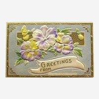 Greetings Postcard / Pansies Postcard / Vintage Ephemera
