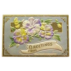 Greetings Postcard / Pansies Postcard / Vintage Ephemera