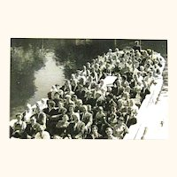 Real Photo Postcard Many People in Boat / Vintage Postcard