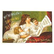 Mrs. Winslows Soothing Syrup Trade Card / 1886 Calendar / Advertising Trade Card / Victorian Era Trade Card