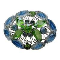 Stunning Molded Glass Pin / Rhinestone Pin / Vintage Jewellery