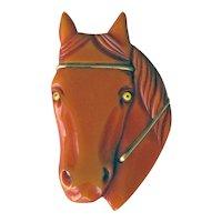 Bakelite Horse Head Pin / Extra Large Horse Head / Vintage Bakelite