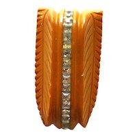 Bakelite Clip with Rhinestones / Carved Bakelite Dress Clip / Butterscotch Bakelite