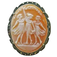 Three Graces Cameo / 800 Silver / Marcasites / Vintage Jewelry