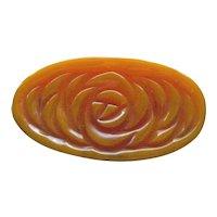 Carved Bakelite Pin / Butterscotch Bakelite / Large Brooch