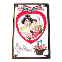 Valentine Postcard / Lovely Lady / Cupid  with Bow / Vintage Postcard