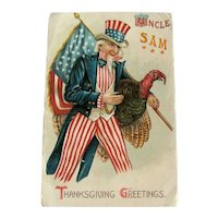 RESERVED Uncle Sam Thanksgiving Postcard / Uncle Sam and Turkey /  Ephemera