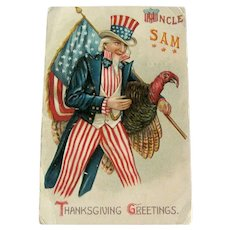 Uncle Same Thanksgiving Postcard / Uncle Sam and Turkey /  Ephemera
