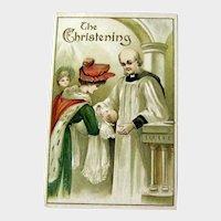 Christening Postcard / Mother and Baby / Vintage Ephemera