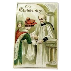 Christening Postcard / Mother and Baby / Vintage Ephemera