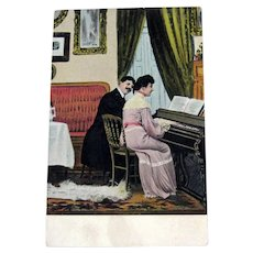 Piano Lesson Postcard / Beau in Black Suit / Vintage Ephemera