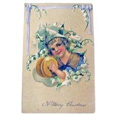Child with Cymbals Postcard / Christmas Post Card / Vintage Ephemera