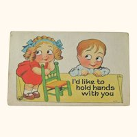 Witt Postcard / Boy & Girl Google Eyes / Humorous Post Card / Vintage Ephemera