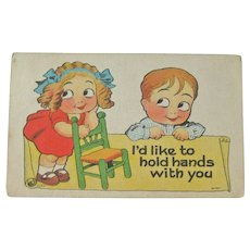 Witt Postcard / Boy & Girl Google Eyes / Humorous Post Card / Vintage Ephemera