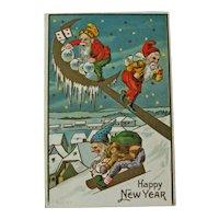 Gnomes New Year Postcard / Sledding Gnomes / Vintage Ephemera