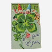 Gnomes New Year Postcard / Four Leaf Clover / Vintage Ephemera