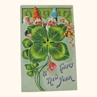 Gnomes New Year Postcard / Four Leaf Clover / Vintage Ephemera